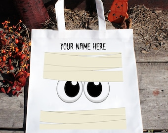 Personalized Cute Mummy Face Trick or Treat Halloween Candy Bag