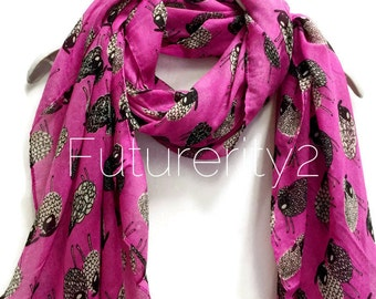 Sketched Sheep Violet Pink Summer Scarf / Spring Scarf / Autumn Scarf / Women Scarves / Gifts For Her / Fashion Accessories
