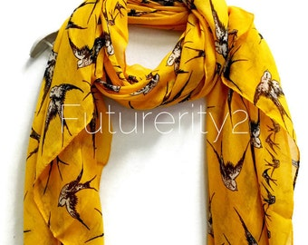 Flying Swallow Birds Mustard Yellow Scarf / Spring Summer Scarf / Autumn Scarf / Women Scarves / Gifts For Her / Accessories / Handmade