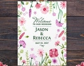 Wedding Poster - Wedding welcome sign - Wedding sign - Wedding shower sign - Floral wedding sign - Watercolors sign - 18 x 24 printed poster