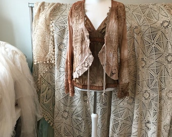 Bohemian clothing,cottage chic jacket,repurposed crochet, gypsy lace clothing ,hippie inspired ,vintage cardi,handmade cardi,eco friendly