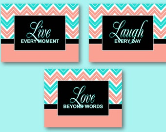 Turquoise Coral Chevron Wall Art Decor Prints Live Laugh Love Inspirational Quotes