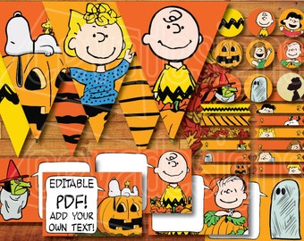 "Printable "" It's the Great Pumpkin, Charlie Brown "" Peanuts Party Decoration Kit Snoopy Halloween / Birthday Instant Digital Download"