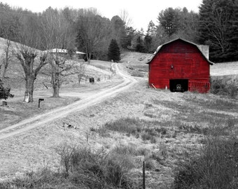 Little Red Barn Photograph Old Country Road 5x7 8x10 8x12 Country Living Decor Christmas Red wall art travel photography country print