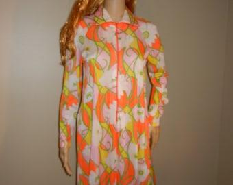 Vintage Butterfield 8, Ladies Mod Dress, Bold Neon Flower Design, Trapeze Style, Size Small, 1960's-1970's, Kaftan Dress