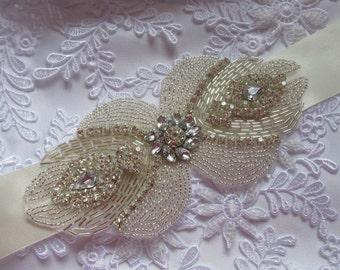 Vintage Rhinestones and crystal sash, wedding sash, jeweled sash belt wedding rhinestone belt sash wedding crystal sash belt bride sash belt