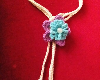 Hand Crocheted Flower & Leaf Necklace