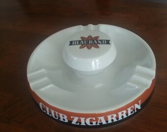 "Rare Vintage 1950's ""Club Zigarren"" porcelain cigar ashtray / Fisher Co."