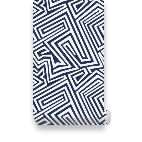 Spiral Lines Dark Blue Removable Wallpaper Peel Stick