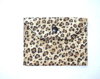 Handmade Fabric Mini Wallet/Card Holder - Leopard