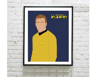 "Star Trek Digital Art Print - Captain Kirk - William Shatner - Starship Enterprise - Geek Gift - Fan Art - Scifi - Trekkie -  8""x10"""