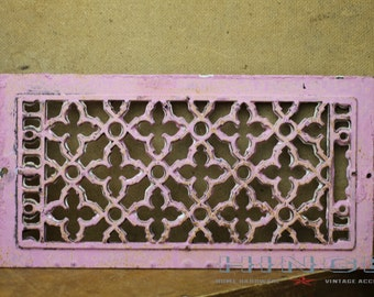 Vintage Iron Pink Chalk Painted Grate Item#422