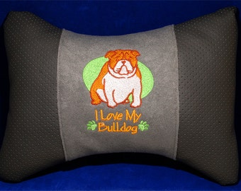 Car seat neck rest pillow. Breed - Bulldog. Great gift for breed lovers.