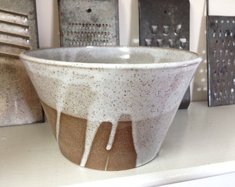 Handmade Pottery White Stoneware Mixing or Serving Bowl