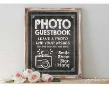 INSTANT 'PHOTO GUESTBOOK Leave your Photo and your Wishes' Printable Photo Guestbook Chalkboard Wedding Guestbook Alternative Size Options