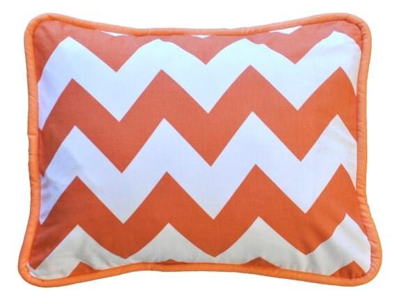 Orange Chevron Throw Pillow Zig Zag Baby in by NewArrivalsInc