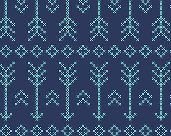 Blue Stitched Arrow in KNIT, Pure Vintage BOLT Collection, Made in USA, Cotton Jersey Knit Fabric 5608