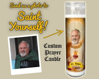 Customized Prayer Candle THE FATHER - Devotional Candle - Funny Saint Candle - Funny Birthday Gift - Funny Office Gift - Gag Gift