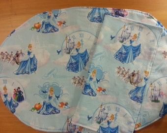 Cinderella Placemat and Napkin Set, Cinderella at the Ball.  Child's Placemat & Napkin set, Girl's play set