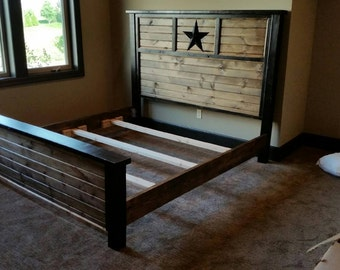 Rustic star queen bed