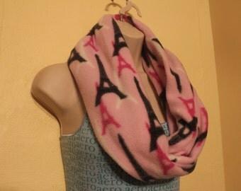 Pink Paris fleece single loop infinity scarf