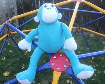 Turquoise and white fleece stuffed monkey/plushie/nursery decor