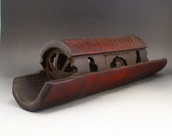 N2974 Vintage Hand Carved Chinese Bamboo Boat Model