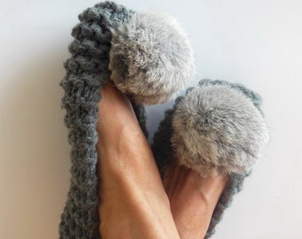 Gray Slippers, NON-SLIP  Chunky Slippers, Women's Slippers,  Real or Faux Fur Pom Poms, Knitted Footwear, Crochet Slippers, Gift Wrapping