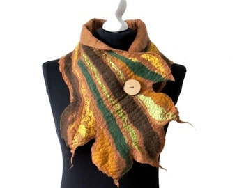 felted scarf shawl, woolen scarf - brown leaf - Feltmondo