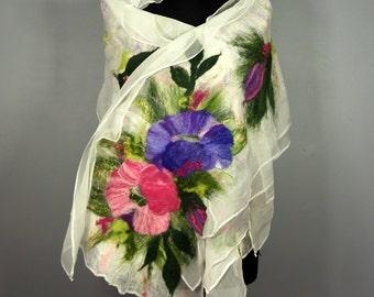 nuno felted silk scarf shawl, felted shawl, felted scarf, wool scarf, white, pink , green - Feltmondo