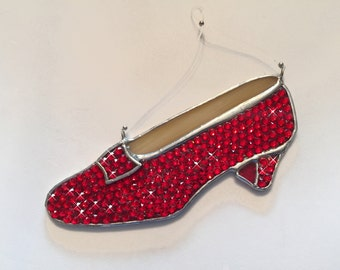 Handmade Stained Glass Ruby Red Slipper Suncatcher made with Genuine Swarovski Crystals