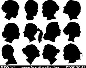 Woman Face Silhoutte Clipart | Woman Silhouette Clipart | Silhouette Clipart |