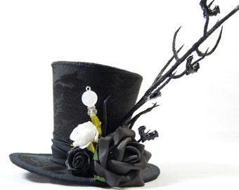 Steampunk mini Hat Brocade - bats on branch - Fascinators - headpiece