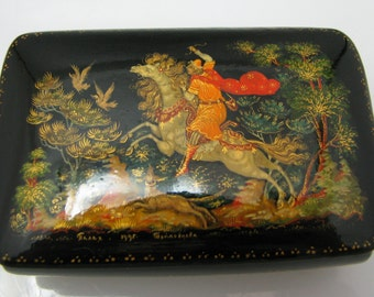 Russian Palekh Tradition Painted Lacquer Box from 1995
