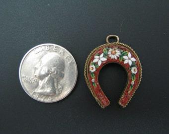 Lovely Micro Mosiac Horseshoe Collectible Pendant