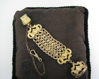 Vintage Pocket Watch Chain and Chain Fob on a Waist Clip with Signet