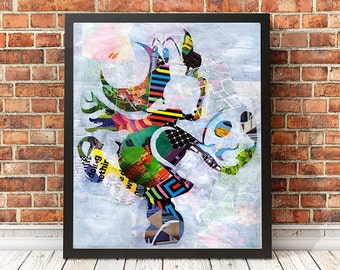 Super Mario, Yoshi ART PRINT, Wall Art, Mixed Media collage art, Video Game, Nintendo, Playstation, Xbox, Gaming