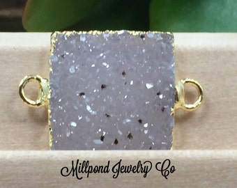 Square Connector, Druzy Square Connector, Druzy Connector, Druzy, Drusy, 18K Gold Connector, One Available of Each, Natural, Light, PG0926J