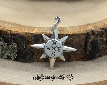 North Star Compass Charm, North Star Charm, Star Charm, Sterling Silver Charm, PS01420