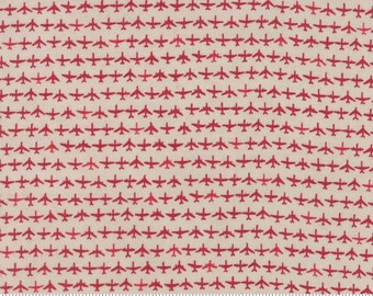Airplane Fabric by the Yard, Flight Fabric, Janet Clare, Moda Fabrics, Flight Aeroplanes Cream Red, Airplane Quilt Fabric, 1410 14