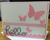 Pink and grey baby card-hello baby card with butterflies- pink and pretty baby card- pretty card for baby shower