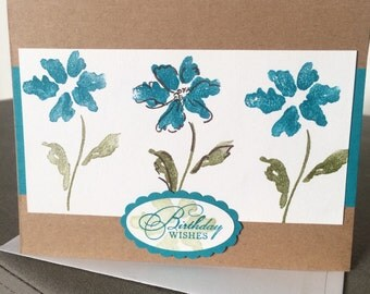 Beautiful handmade Teal and Brown Flower embellished thank you card with stamped envelope-thank you card homemade with pretty flowers