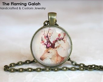 STAG and ROSES Pendant •  Stag Watercolour •  Wild Life •  Stag Jewellery • Gift Under 20 • Made in Australia (P0185)