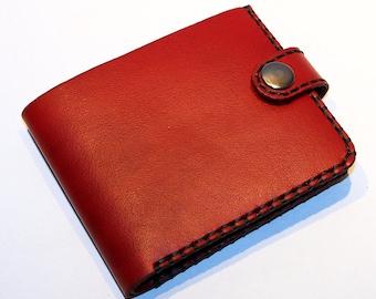 Leather wallet, red wallet, great leather item, red men's wallet, credit card wallet, gift for men.