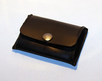 Leather coin wallet, black coin wallet, great leather item, black men's wallet, small coin wallet, gift for men, gift for women.