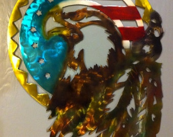 American Eagle Metal Wall Art Eagle With Flag And Feathers Metal Wall Art