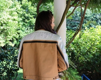 90s Genuine Leather Extasy Racing Jacket Faux Fur Lining