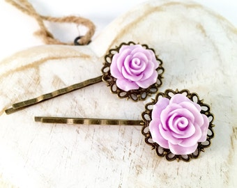 Lavender Floral Vintage Style Bobby Pins
