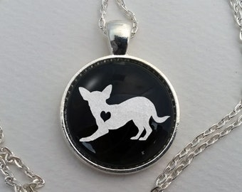 Custom Chihuahua Necklace, Glass Dome Pendant, Cute Dog Lover Gift, Round Art Cabochon Charm Jewelry, Pet Memorial Jewellery