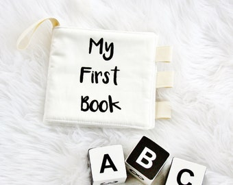 Organic My First Cloth Fabric Quiet Book Handprinted ABC 123 Black White Monochrome Crinkle